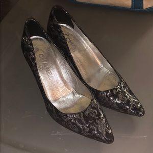 Chanel Brocade Black and Silver Heels 36 1/2